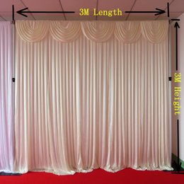 White 3M*3M Shine Ice Knit Backdrop Curtain With Swag 1PCS With Free Shipping For Wedding Use