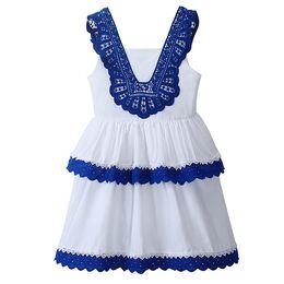 Pettigirl Summer White Girls Crotched Dress Stylish Cotton Kids Layered Dresses Kids Designer Girls Dresses GD81016-108Z