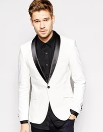 Handsome White Tuxedos Jacket with Black Pants Shawl Lapel Two Pieces Mens Suits Custom Slim Fit Groomsmen Wedding Suits ( Jacket+Pants)