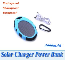Wholesale 5000mah Magic Mirror Solar charger Waterproof Shockproof Dustproof External Solar power bank Dual USB mAh W for Mobile Phone PAD