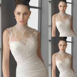 Wholesale Cheap Quality Jackets - Charming 2015 Bridal Wraps Cheap Lace Sleeveless High Neck Bridal Jackets For Wedding High Quality Custom Made China EN10294