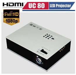 Wholesale-DHL Free Shipping High Quality UC80 HD LCD LED Projector 1080P Video TV Proyector Home Theater Projector 1500Lumens HDMI USB VGA