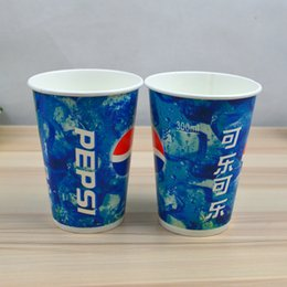 Wholesale Coke Cola cups A thick double pe coated paper cup lid disposable beverage cups