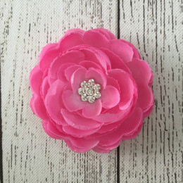 Wholesale Trial order Rosette Swarovski Crystal Center Silk Ranunculus Fashion Flowers New Arrival Infant Baby Accessories30pcs