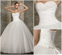Ball Gowns Wedding Dresses 2015 Cheap Modest Wedding Dress Organza Beading White Bridal Gown Custom made