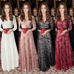2016 Spring US Hot Lace Long Dresses Women Ladies Sexy Deep V-Neck Gauze Casual Dresses Full Dresses Evening Dress