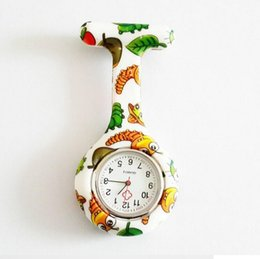 Wholesale New Silicone Colorful Prints Medical Nurse Watch Cute Patterns Fob Quartz Watch Doctor Watch pocket Watches LJJD1600