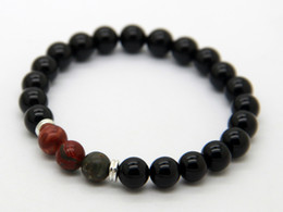 2015 Best Selling New Beaded Yoga Bracelets, 8mm Black Agate with Picasso Jasper Stretch Bracelets Wholesale