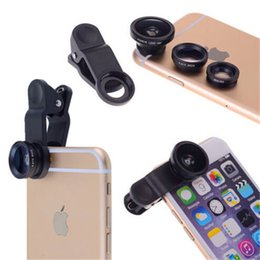 Wholesale Universal in Clip On Fish Eye Lens Wide Angle Macro Lens for iphone S G S C iPhone S3 i9300 S4 S5 Note