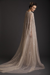 Wedding Dresses A-Line 2019 Crew Champagne See-Through Tulle Bridal Gowns Appliques Beads Watteau Dress Krikor Jabotian