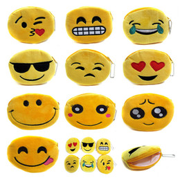 Wholesale New Hot QQ Expression Coin Purses Cute Emoji Coin Bags Plush Pendant Womens Girls Creative Chirstmas Gifts High Quality K1199