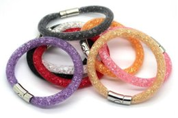 Wholesale Stardust Mesh Bracelet With Magnetic Clasp Network Bangle Jewelry Statement Bracelet With Full Crystal Resin Inside Large Stocks Mix Colors