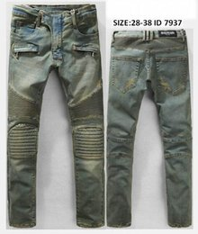 Wholesale New Arrive Skinny water wash Motorcycle mens jeans desinger B7937 in single cow thickened Slim paris top quality plugs men s jeans