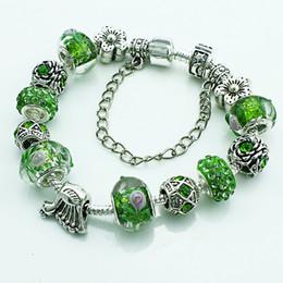 Brand New Link Bracelets Green Rhinestone Glass Beads Infinity Snake Chain Bracelets & Bangles For Women DIY Jewelry