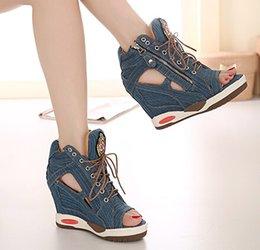 Wholesale Summer Open The Toe Wedge High Heels Denim Sandals Platform Cut Out Peep Toe Lace Up Side Zipper Women Sandal Shoes New Jeans SXQ0803