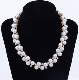 Rose Gold Plated Clear Rhinestone Crystal and Cream Pearl Choker Bridal Necklace For Wedding Party Jewelry Set