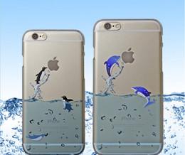 Promotion cas transparents pour iphone 4s Pour iPhone 6 6 plus 4S 5S Ocean Animaux cas Sea Lions Watter Matte cristal dur pc Effacer cristal transparent dauphins couverture arrière