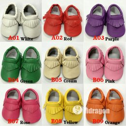 Wholesale Hot Baby Soft PU Leather Tassel Moccasins Girls Bow Moccs Baby Booties Toddler Solid Colour Tassel Shoes Moccasin pairs Free DHL
