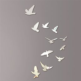 Wholesale Acrylic Birds Mirror Effect Mural Wall Sticker Removable Modern Room Decoration