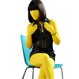 yellow lycra spandex unisex second skin fetish zentai suits can customize size S M L XL XXL