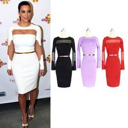 2017 robes moulantes kardashian Gros-2015 femmes de taille plus Casual Sexy Party Dress base Soirée élégant moulante Vestidos OL Taille Plus Kim Kardashian 914 robes moulantes kardashian ventes