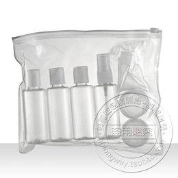 Wholesale Set of clear plastic travel size empty bottles TSA Airline approved BPA free travel bottle set with fly bag