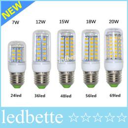 Promotion ampoule g9 conduit LED blanc chaud E27 Ampoules LED 7W 9W 12W 15W 18W 3000 Lumen Cree SMD 5730 Avec couverture 48 leds GU10 E14 B22 G9 LED Lights Corn Lighting