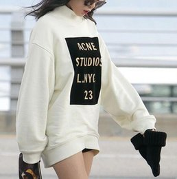 Wholesale ACNE OVERSIZED minute gold hot word loose cotton long sleeved sweater hedging