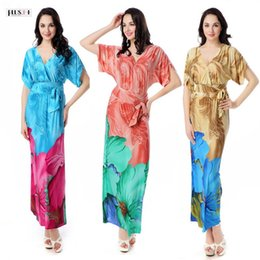 Wholesale Short Nightgowns For Women - PLUS++ New Arrived Blue and Pink Color Flower Print Beach Dress Beachwear For Women Dress Kaftan Beach Nightgown XL-6XL
