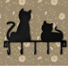 Wholesale Fashion cat design Metal Iron After The Door Rustic Clothes Coat hat key hanging Decorative Wall Hooks Robe Hanger