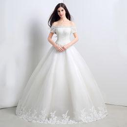 Beaded White Wedding Dresses Vestidos De Novia Real Picture100% Size 2 to 16 Off shoulder Applique Lace Bridal Gowns 2015