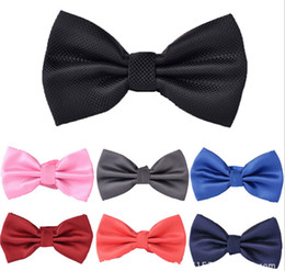 Men's Bow Ties Solid Color Plain Satin Skinny Ties Groom Necktie Silk Jacquard Woven Tie In Stock 0320