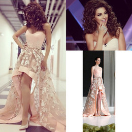 High Low Prom Dresses Lebanon Singer Sweetheart Embroidery Appliques Short Beach Evening Gowns Sleeveless Formal Dresses Evening Gowns