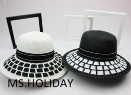 Wholesale-2015 Classic simplicity Black&white dress hat fashion bucket hats topi Travel Sun cap women Brand Straw hat Visors chapeu