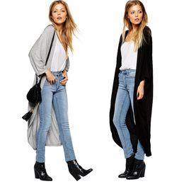 Wholesale Cardigan Kimono Wholesale - New Fashion Women Clothing Thin Cardigan Long Sleeve Loose Outerwear Asymmetric Hem Long Maxi Kimono Coats Black Gray G1426