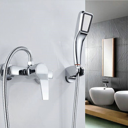 Wholesale Wall Mounted Bathroom Faucet Bath Tub Mixer Tap With Hand Shower Head Shower Faucet Sets C3033