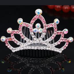 Promotion pinces à cheveux ronds Couronne diamant coloré Accessoires cheveux nuptiale de soirée de mariage Flower Girl / bébé / femmes Full Circle ronde en cristal Mini Tiara Barrette