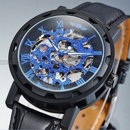 Winner 2019 new Mechanical men black color skeleton dress watch free shipping brand fashion luxury casual watch