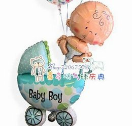 Wholesale-Baby boy blue birthday bolloons family day party 1pcs baby(61x41cm)+ 1pc baby carriage Hot sales~!!!