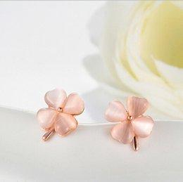 Korean version popular nude color opal earrings earrings Clover female flowers Two colors