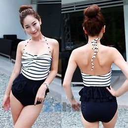 Women's Monokini Padded Bikini Backless Striped Swimwear Swimsuit M-XL