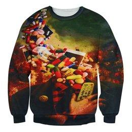 Wholesale w20151219 Alisister hip hop sweatshirt men women printed Addiction Head Crewneck d hoodies Unisex funny harajuku graphic sweatshirts top