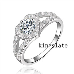 Wholesale-NEW 925 Sterling Silver Ring Engagement Love Zircon CRYSTAL Wedding WOMEN lady Rings hot sale R388