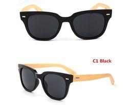 Wholesale-Original Bamboo Sunglass Brand Wooden Sunglasses Men Outdoor Wood Sun Glasses Women Vintage Eyewear Square Frame Oculos de sol
