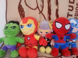 Hombre de araña estupendo libre del héroe del héroe del envío 5PCS / lot los 30cm + juguete verde de la felpa de Giant + Iron + American Captain + Thor para la figura felpa doll16 del anime de los niños desde superhéroes juguetes de peluche proveedores