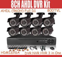 Wholesale 8CH CCTV System AHDL H Full D1 DVR Kit Hybrid DVR NVR HVR IN tvl CMOS outdoor IR CCTV camera waterproof Security camera System