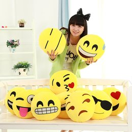 Wholesale EMS styles Diameter Cushion Cute Lovely Emoji Smiley Pillows Cartoon Cushion Pillows Yellow Round Pillow Stuffed Plush Toy