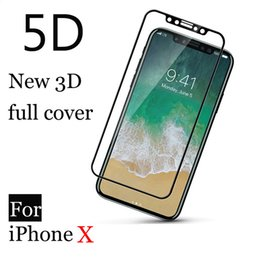 5D TOP quality Real 9H Tempered Glass glass Curved Premium Screen Protector Film for iPhone X 6 7 8 PLUS Secondary tempered process