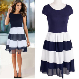 New Fashion Dress woman 2015 short sleeve summer dress patchwork pleated casual striped dress party office work ball gown dress DK3006MX