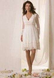 Wholesale Short Casual Wedding Ivory - Long Sheer Sleeves Wedding Dress Knee Length V-neck Lace Beach Casual Short Bride Dress 2015 Spring Summer